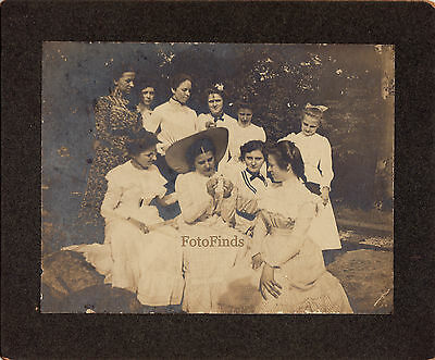 Antique Victorian OLD Photo 1890 PRETTY Young GIRLS White DRESSES