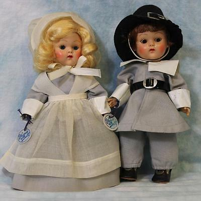 "TWO 8"" Vogue Ginny Doll Pilgrim Priscilla & John Alden ""Frolicking Fables""Series"