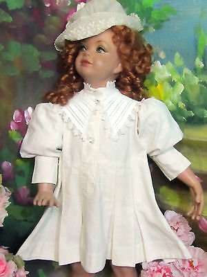 ANTIQUE Victorian Edwardian CHILD'S DRESS doll clothes LINEN pleats PUFF sleeves
