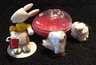 Vintage Easter Egg Candy Container,Bunny Rabbit Bobblehead Nodder,Chenille Chick