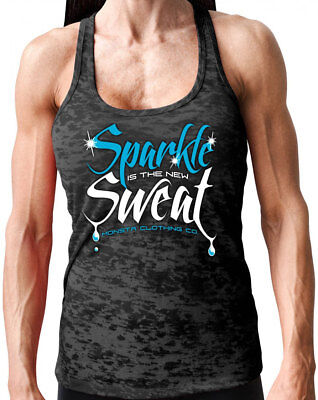 Monsta Clothing Woman's Sparkle is the New Sweat SuperSoft Racerback: Black