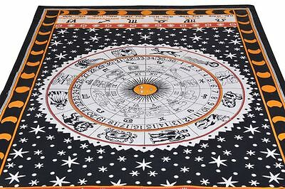 Indian Horoscope Tapestry Zodiac Astrology Hippie Wall Hanging Bedspread Throw