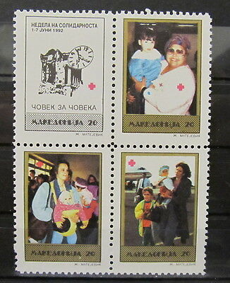A3520 Macedonia 1992 Red Cross Block Of Four Mnh**