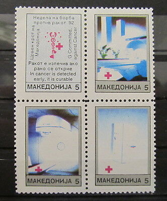 A3522 Macedonia 1992 Red Cross Block Of Four Mnh**