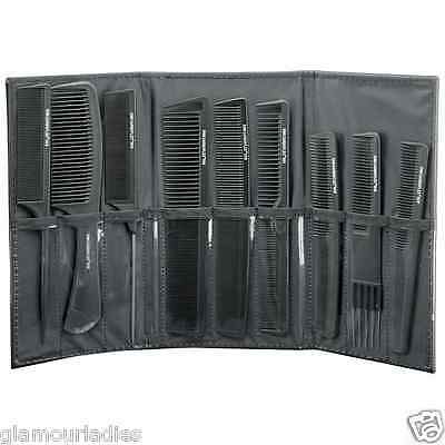9 pcs DMI Carboflex Carbon Mixed Hair Comb Set Barbers Salon Styling &Sectioning