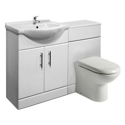 High Gloss White Vanity Unit with Ceramic Basin and Toilet