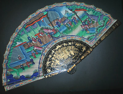 Fine Large Antique Chinese Gold Lacquer Hand Painted Figural Scene 100 Faces Fan