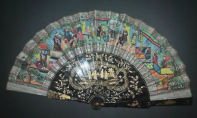 Fine Antique Chinese Gold Lacquer Figural Scene 100 Faces Fan