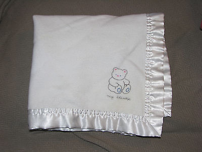 Elegant Baby Security Blanket Lovey White Satin Fleece My Blankie Bear 19.5""