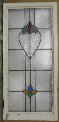 """LARGE OLD ENGLISH LEADED STAINED GLASS WINDOW Floral Heart Design 20.5"""" x 44"""""""