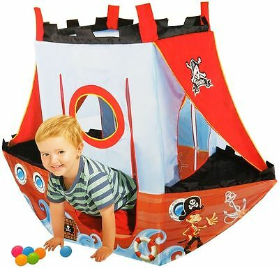 Childrens Kids Pirate Ship Pop Up Adventure Play Tent House  & 24 Cannon Balls
