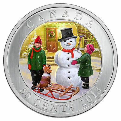 2013 Lenticular Snowman 50 Cents Coin in Case with COA