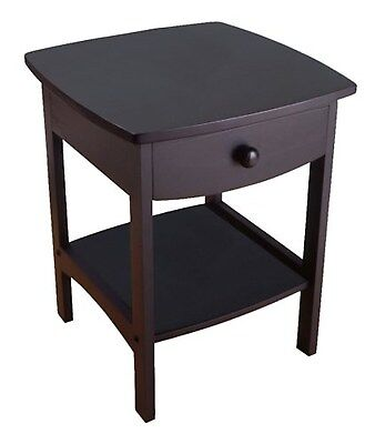 Winsome Wood End Table/Night Stand with Drawer and Shelf, Black FREE SHIPPING