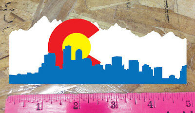 CO Colorado State Flag Denver Skyline Sticker Decal - 6""