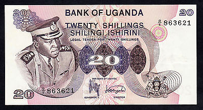 Uganda Idi Amin 20 Shillings P. 7a  Rare Note VF+ ND 1973