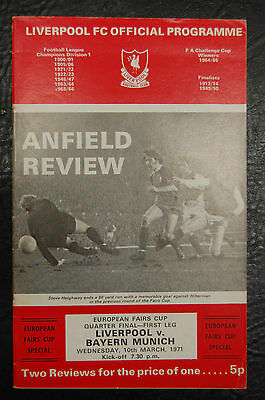 Liverpool V Bayern Munich  European Fairs Cup 1971 Official Programme