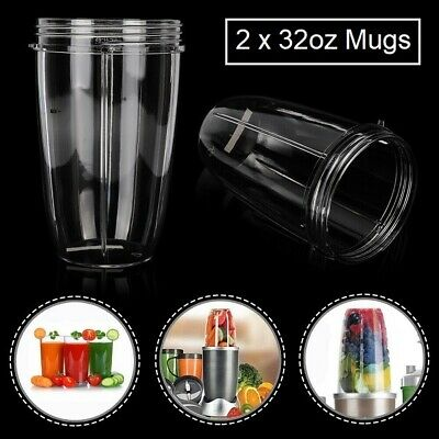 2 x Mugs for Nutribullet 600/900w COLOSSAL 32 OZ Tall Oversized Cup spare parts