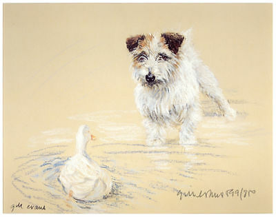JACK RUSSELL TERRIER DOG ART LIMITED EDITION PRINT - Watching a Duck