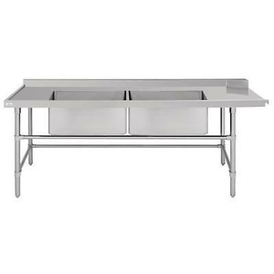 Dishwasher Outlet Table w Double Sink, Left Stainless Steel 2400mm, Commercial