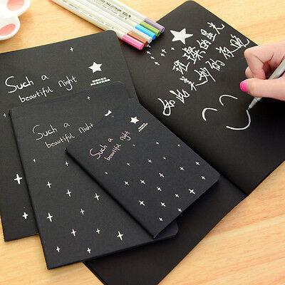 New Starry Sky Black Pages Journal Blank Diary Notebook Sketchbook Planner Book