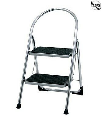 SIGNS & LABELS Two Tread Chrome Plated Step Stool - FACCESS074