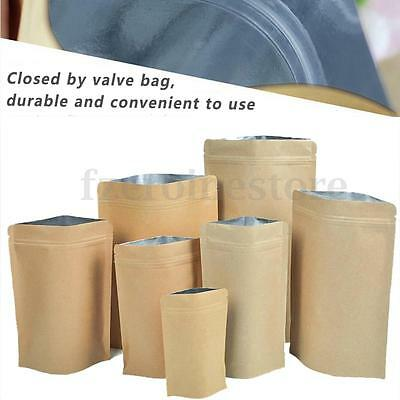 Ziplock Grip Seal Bags Stand Up Pouch Brown Craft Paper with Aluminium Foil Inne