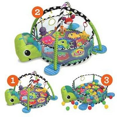 Turtle Baby Gym 3 in 1 Activity Playmat Ball Pit & Toys Babies Safety Mesh Net