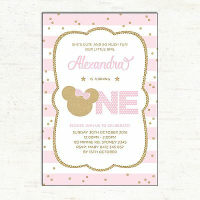 Minnie Mouse First 1st Birthday Invitation Pink And Gold Party Invite Card Girls