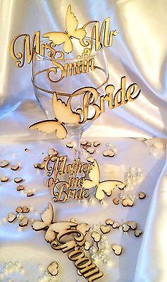 Personalised wooden wedding name place card; butterflies; party; table decor