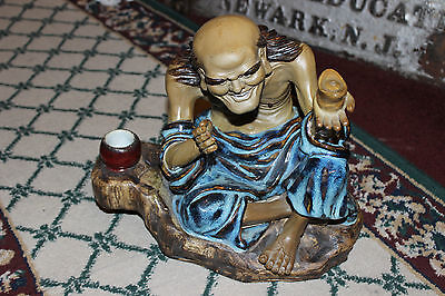 Stunning Chinese Mudman Sculpture-Very Large-Old Crazy Man Drinking Tea-Detailed