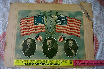 Original 1917 WWI poster Washington/Wilson/Lincoln Published by Louis Spiro