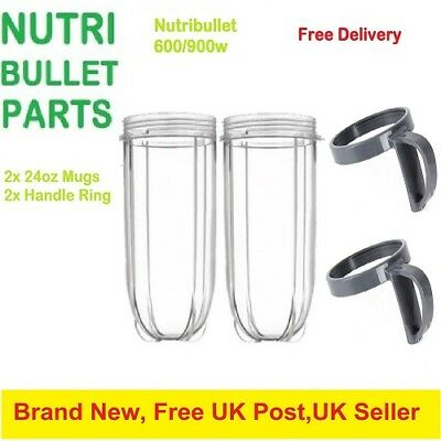 2 x Nutribullet 600/900w Huge 24OZ Tall Cup + 2 x Handle lip ring UK
