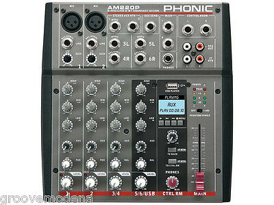 PHONIC AM220P MIXER AUDIO professionale 6 CANALI + lettore usb mp3 karaoke live