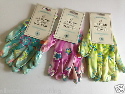 Ladies Garden Gardening Gloves Printed Flower Latex Cotton Back Washable S M L