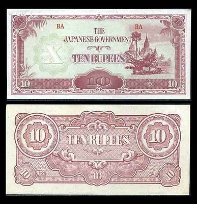 WW2 Japan Occupied Burma 1942-44 10 Rupee Bank Note- EF Cond.16-69