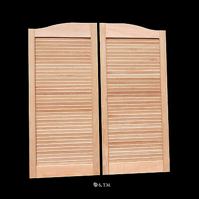 "CAFE DOOR *OAK* LOUVER 34""W Saloon Swinging Pub Bar Western with Gravity Hinges"