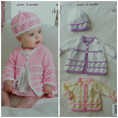 KNITTING PATTERN Baby Cardigan Matinee Coat & Beret Hat DK King Cole 4215