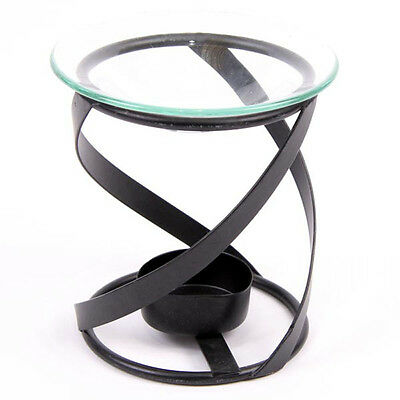 Black Metal Oil Burner With Glass Dish Thick Spiral Ob98