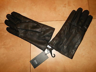 HUGO BOSS Dark Brown Strong Shoft Leather Lined Gloves 9 US Medium Black Label M