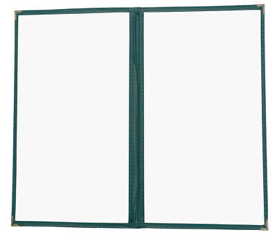 "25pcs Menu Covers 8.5""x14"" Double Page 4 Views, Green Leatherette Trim 2LGR"