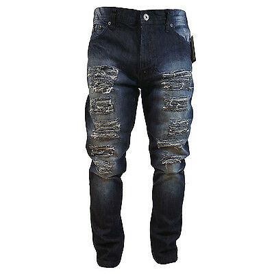 Southpole Men s Ripped Denim Dark Sand Blue Jeans Carrot Fit Style  16121-3101 6a9114adc