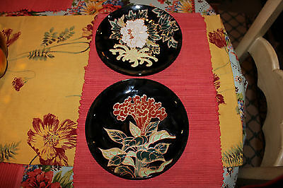 Superb Chinese Japanese Painted Flower Plates-Signed Back-Raised Floral Design