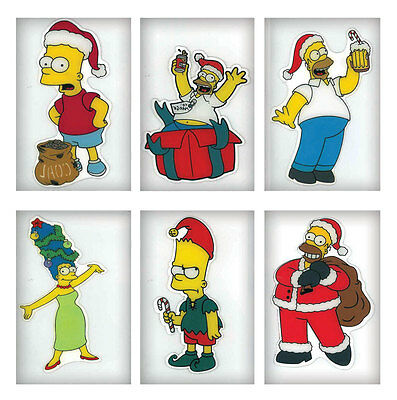 NEW! THE SIMPSONS Christmas Clings Homer, Bart & Marge 6-Pack! 42609-IP24