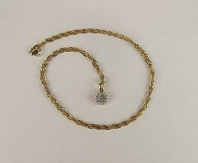 9ct Yellow Gold Diamond Cluster Pendant Necklace