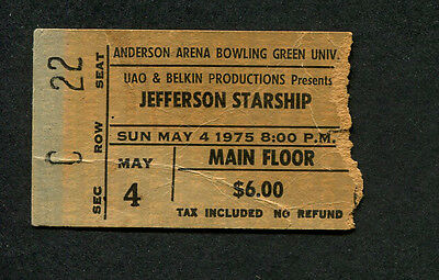 1975 Jefferson Starship Concert Ticket Stub Bowling Green Red Octopus Miracles