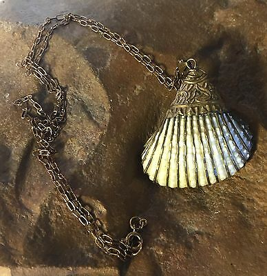 Rare Art Nouveau Antique Natural Shell Necklace Hand Gilded GF A Must See Beaut