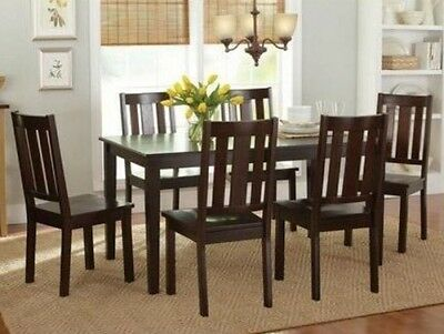 7 Pc Mocha Dining Room Set Wood Kitchen Furniture Table & 6 Chairs Dinette Sets