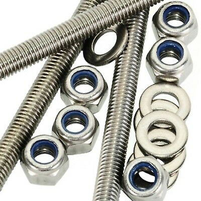 M4 A2 Stainless Steel Threaded Bar - Rod Studding 4mm + Nyloc Nuts + Washers