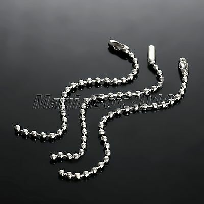 Wholesale 100pcs Silver Tone Connector Clasp Ball Chain Keychain Bracelet Making
