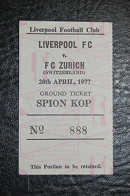 Ticket  Liverpool V Fc Zurich 1976/77  European Cup Semi- Final Mint